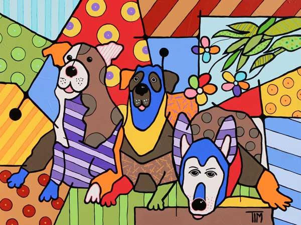 """Got Woooofs?""   36 X 48 Acrylics on Gallery Wrap Canvas * Available at Ansbach Artisans Fine Art Gallery in Franklin, TN"