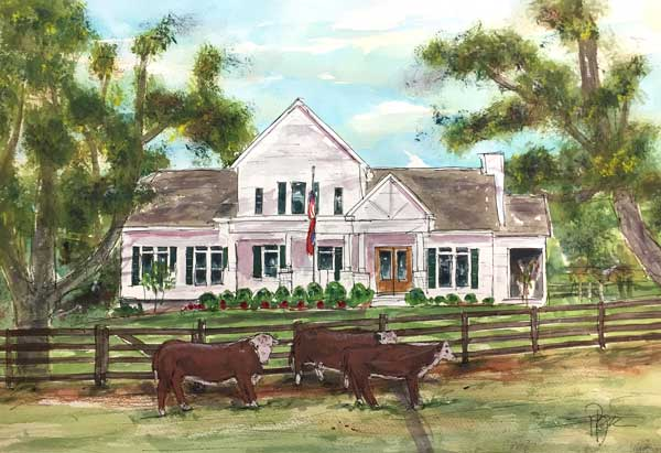 """Buck & Bull Cattle Ranch""     15 x 22 Waetrcolor       SOLD!      BUY PRINTS"