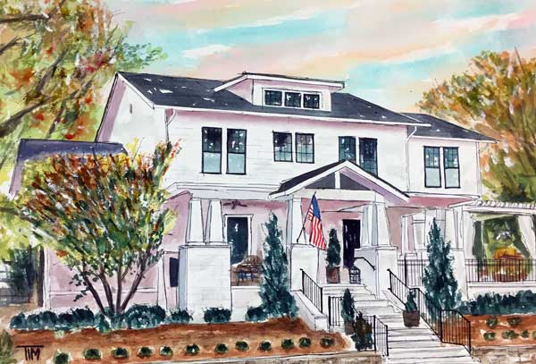 """""""The White House""""  15 x 22 Watercolor   SOLD!"""