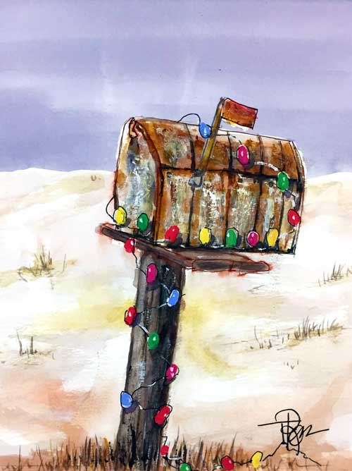 """Very Merry Mailbox""     10 x 8 watercolor     SOLD!       BUY PRINTS"