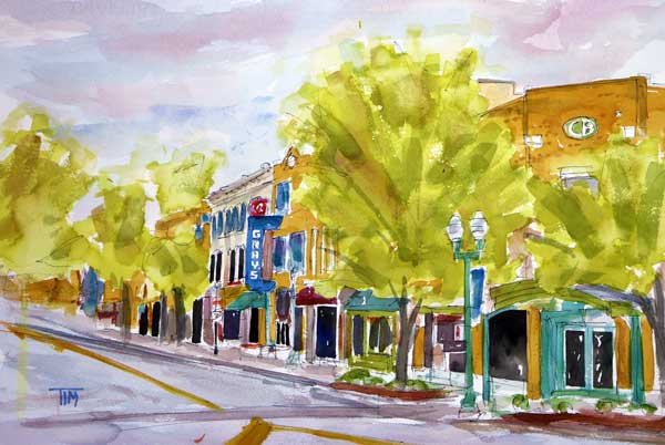 """Just Down the Street""     15 x 22 Watercolor     $349"