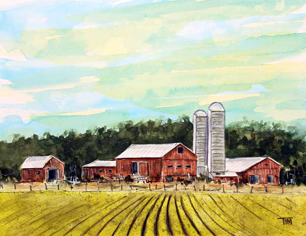 """Moo Valley Farm""    9 x 12 Watercolor      Available:  $199        BUY PRINTS"
