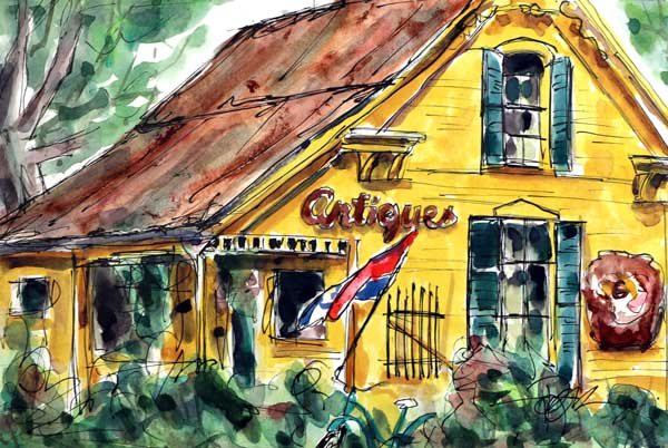 """Village Antiques""     10 x 13 Watercolor      SOLD!"