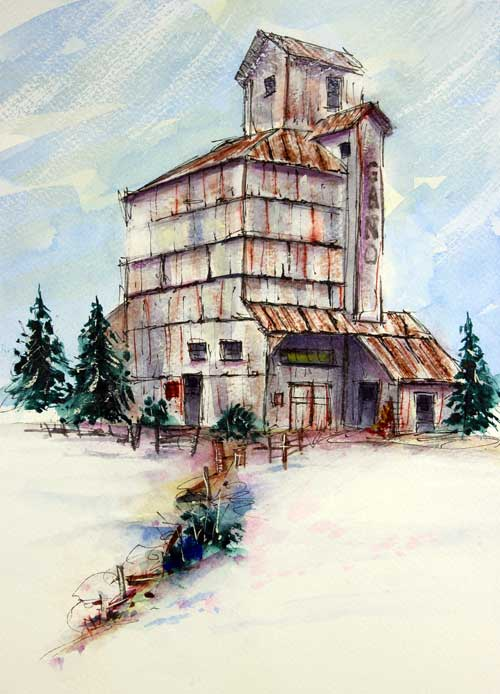 """Gano Grainery""     13 x 10 Watercolor       Available: $199       BUY PRINTS"