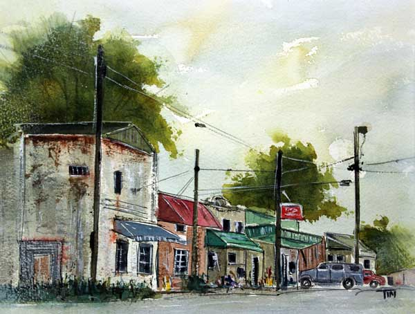 """We Drove to College Grove""    18 x 24 Watercolor      SOLD!       BUY PRINTS"