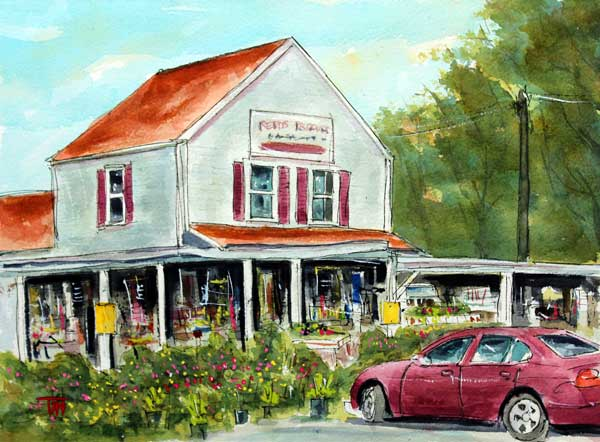 """Gotta Run to Reed's   15 x 224 Watercolor      SOLD!       BUY PRINTS"