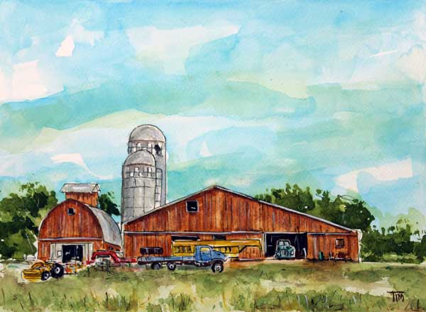 """Cowabunga Farm""     9 x 12 Watercolor     SOLD!      BUY PRINTS"