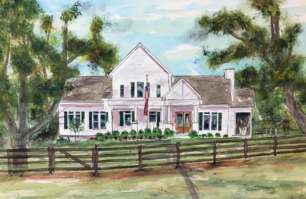 """Buck & Bull Cattle Ranch""  15 x 22 Watercolor  SOLD!"