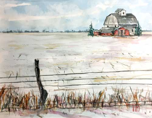 """""""Little Barn on the Dairy""""  11 X 15 Watercolor  Available: $249   BUY PRINTS"""