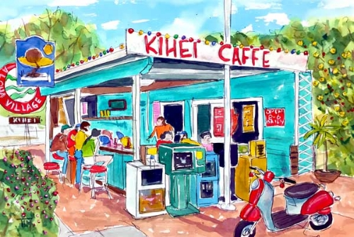 """""""Every Day at Kihei Caffe"""" 15 X 22 Watercolor BUY PRINTS"""