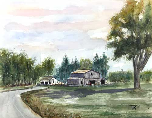 """Biking Boyd Mill""   Franklin, TN   11 x 14 Watercolor   Available     BUY PRINTS"