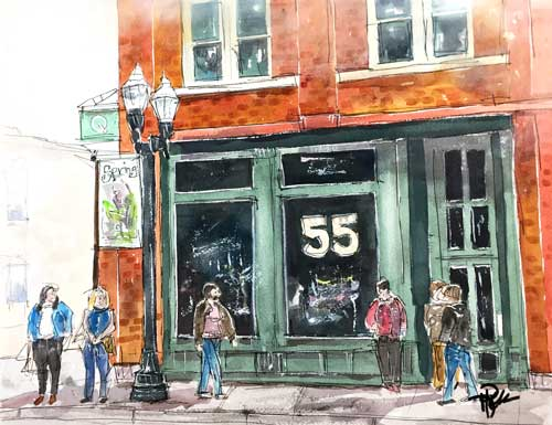 """""""4th & Main""""   11 x 14 Watercolor   $249   BUY PRINTS"""