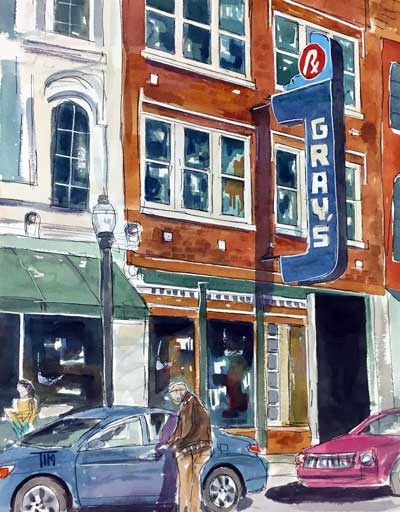 """""""Franklin Past and Present""""  14 X 11 Watercolor $249   BUY PRINTS"""