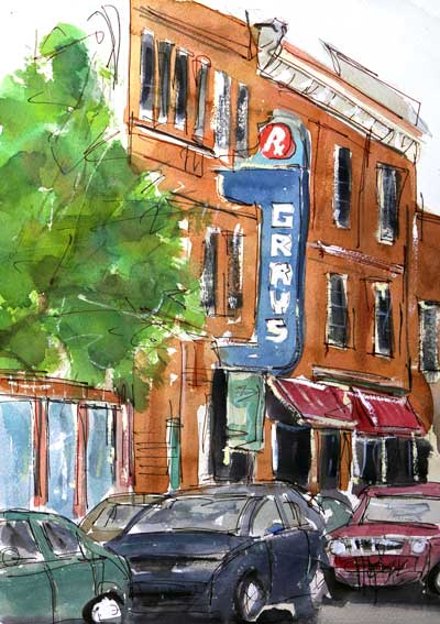 """Friday Night in Franklin""   11 x 14 Watercolor    $249    BUY PRINTS"