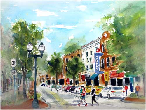 """Meet Me on Main Street""      2 X 15 Watercolor      SOLD!         BUY PRINTS!"