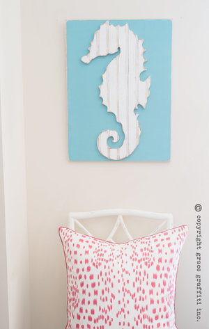 Seahorse Wall Art seahorse wall art, coastal collection — grace graffiti