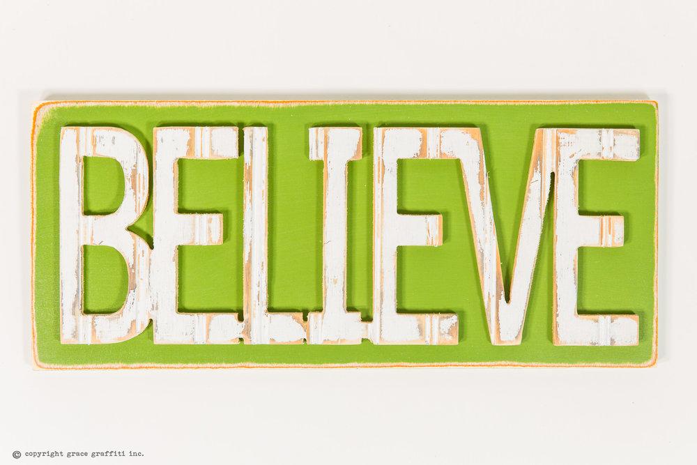BELIEVE Word Wall Art Sign