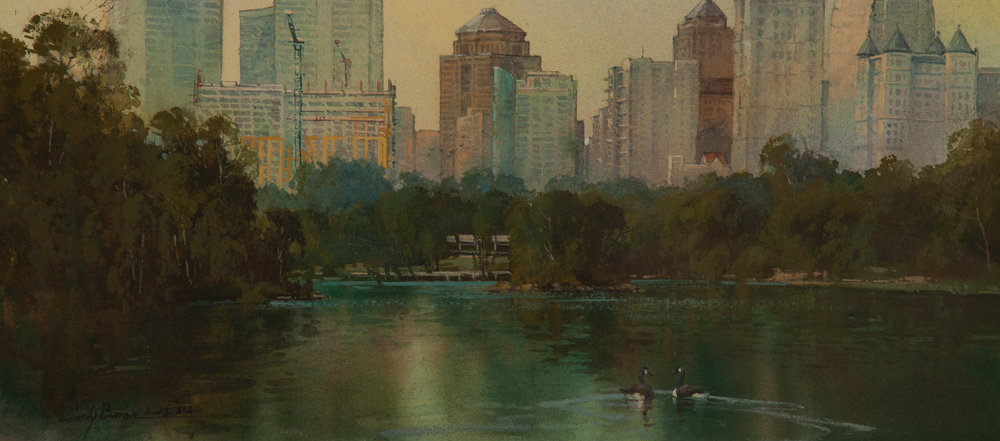 Olmsted Plein Air Founders Award-Best Urban Landscape  'Peace Among the Giants' by Cindy Baron