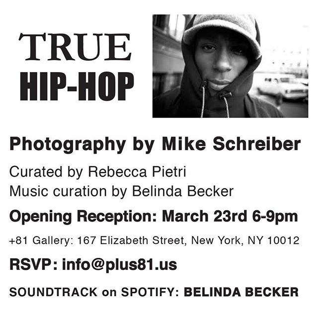 Please come by  3/23/18  6-9pm  Check our our playlist on Spotify : Belinda Becker #mikeschrieber #belindabecker #hommepourfemme #rebeccarebecca #hiphop #blackandwhitephotography #documentaryphoto @yardgyal @themikeschreiber @plus81gallery #curator #spotify #spotifyplaylist