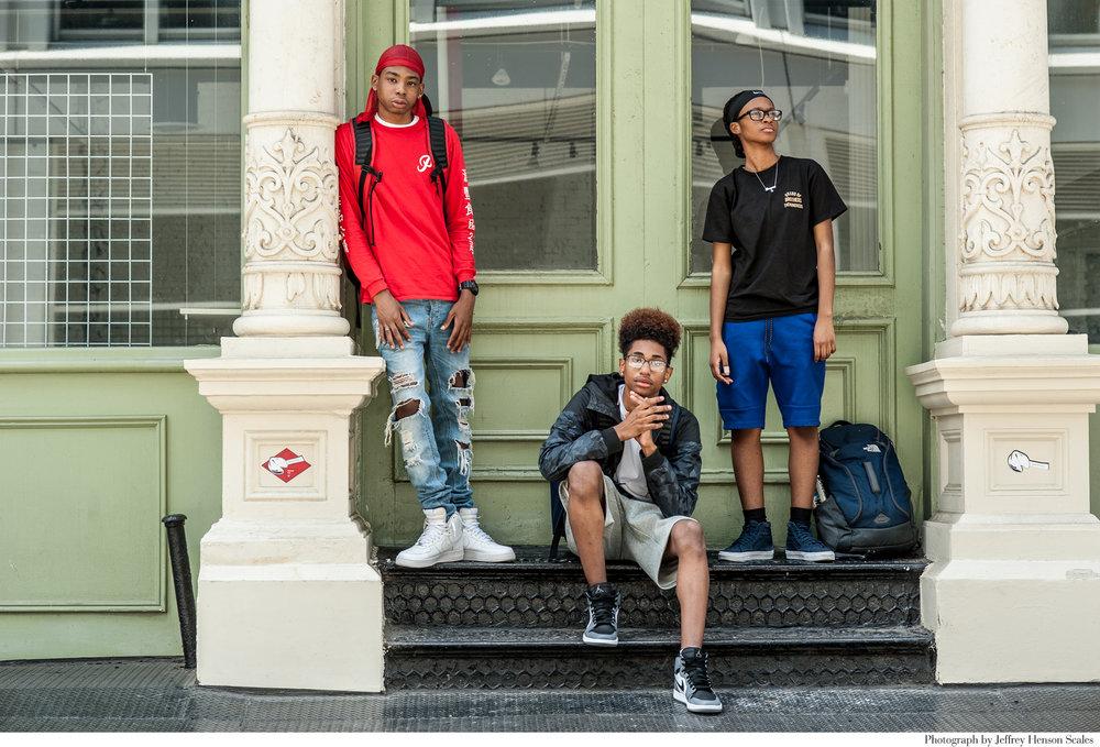 The Look _ New York Times_ Rebecca Pietri Stylist _ Casting _ Jeffery Henson Scale Photgrapher_Eve Lyon Editor_ New Geeks_Article_Nom Core- Youth Fashion_ Supreme_Palace_Vans_Street fashion _ Soho_ Teens_Group Shot .JPG
