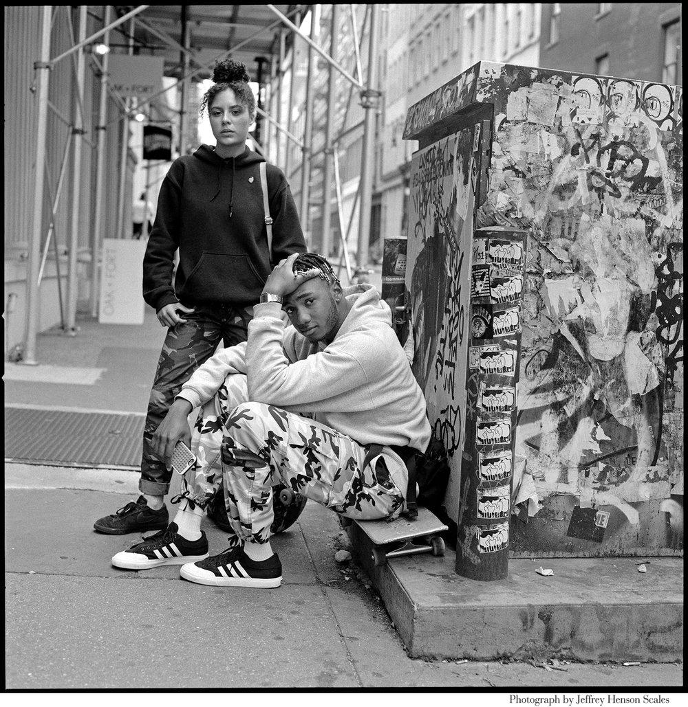 The Look _ New York Times_ Rebecca Pietri Stylist _ Casting _ Jeffery Henson Scale Photgrapher_Eve Lyon Editor_ New Geeks_Article_Nom Core- Youth Fashion_ Supreme_Palace_Vans_Street fashion _ Soho_ Teens_Skater Couple _Shot .JPG