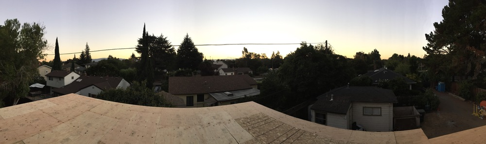 Enjoying the sunset on our new roof.
