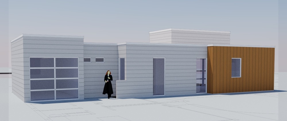 Here was an earlier rendering that at least reflects somewhat the current construction, after we decided to go the secondary dwelling unit route.