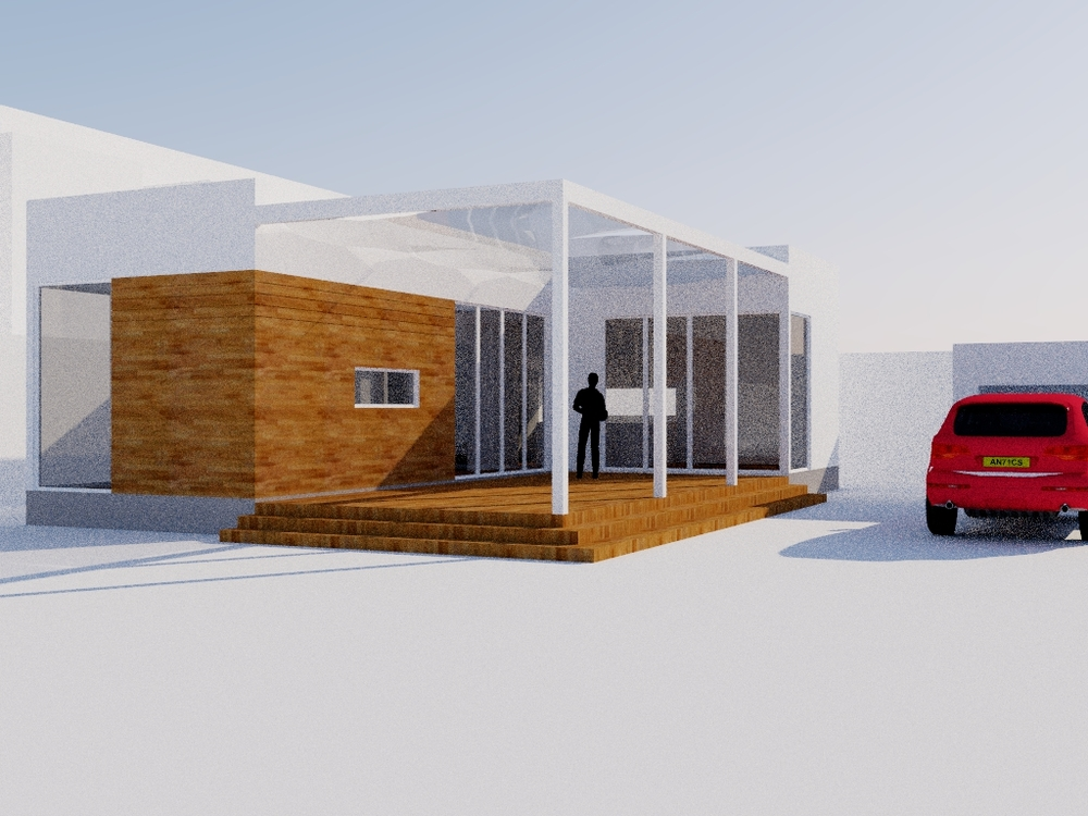 This was an early idea for the cottage with an indoor/outdoor space that could make the small house seem a lot larger than it really was. I think I was also dreaming for a German SUV...