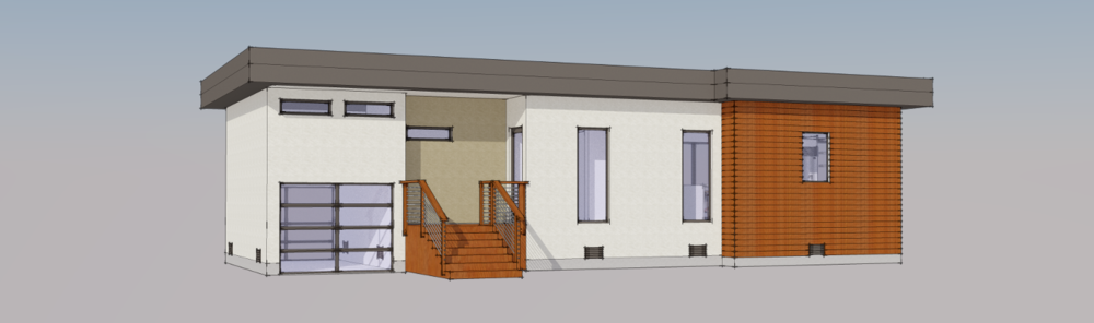 Along with straight-on elevations, we did some perspective renderings now and again. We learned that with the areas of stucco we were proposing, expansion joints may not be necessary.