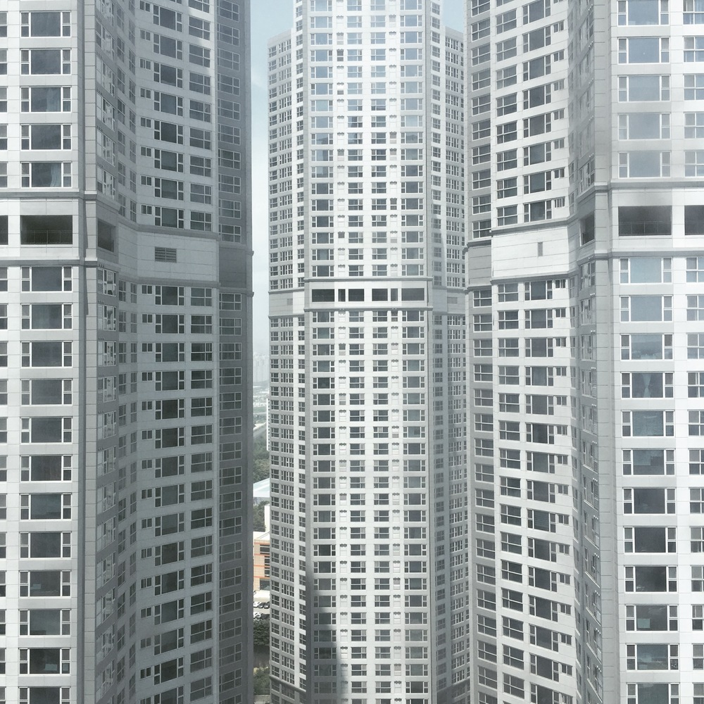 One of the newer Korean apartment towers. This isn't even Seoul!