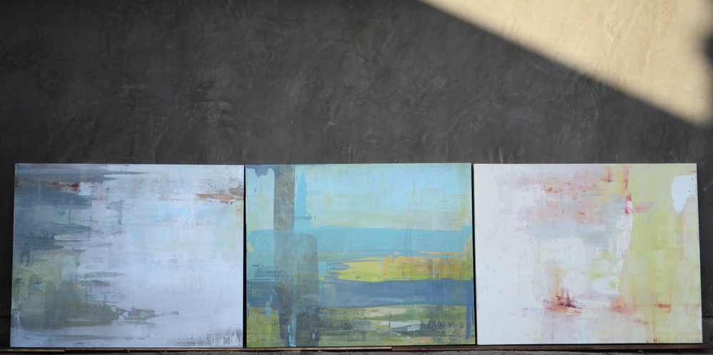 3 @ 48x60 : painted to hang in either direction, this wall invited the horizontal stretch.    Left to right:   Follow Through  ,   Tangled Up In Blue  ,   Enough Alone   (click to zoom)