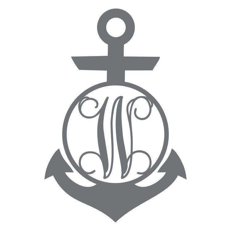 Circle Anchor With Vine Monogram
