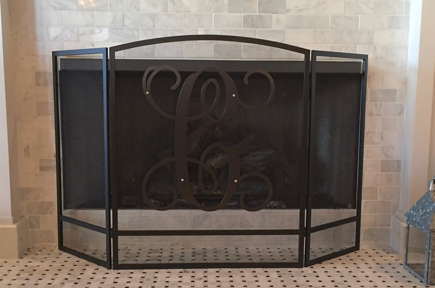 monogrammed fireplace screen u2013 fireplace ideas gallery blog