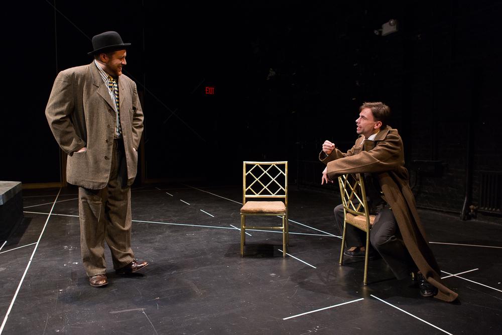 Trey K. Blackburn (Rosencrantz) & John Cormier (Hamlet) in Hamlet ; directed by Brad Raimondo, photo by Scott Wynn