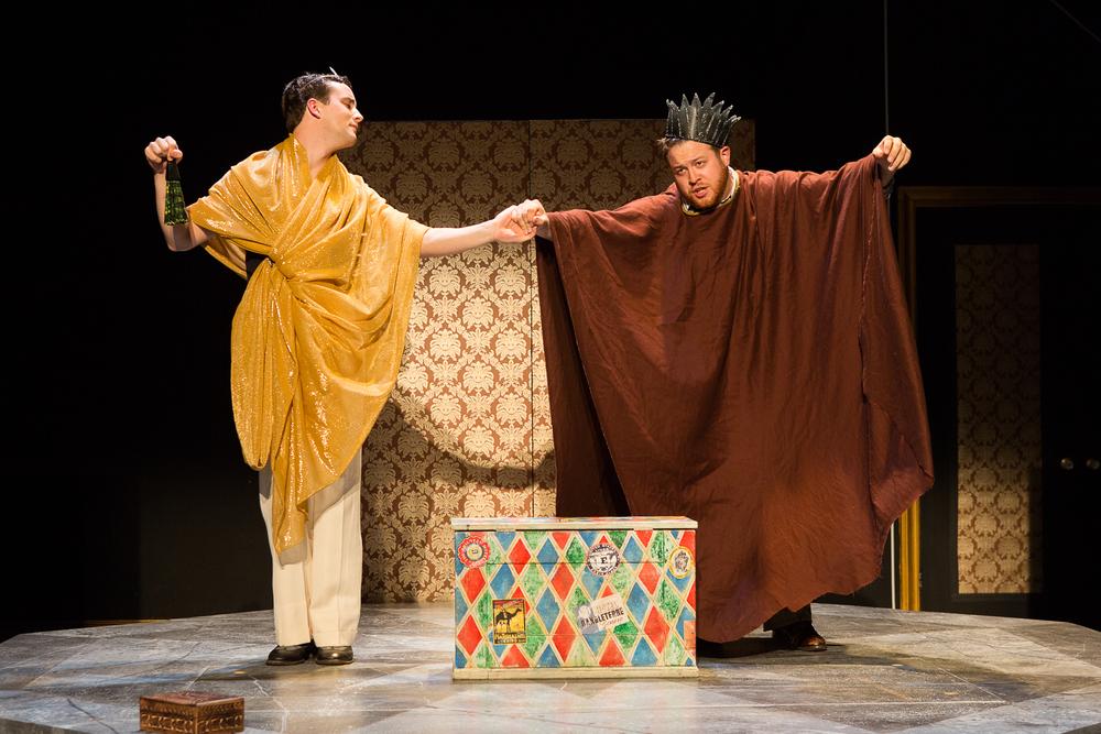 Martin Boersma (Player Queen) & Trey K. Blackburn (Player King) in Hamlet ; directed by Brad Raimondo, photo by Scott Wynn