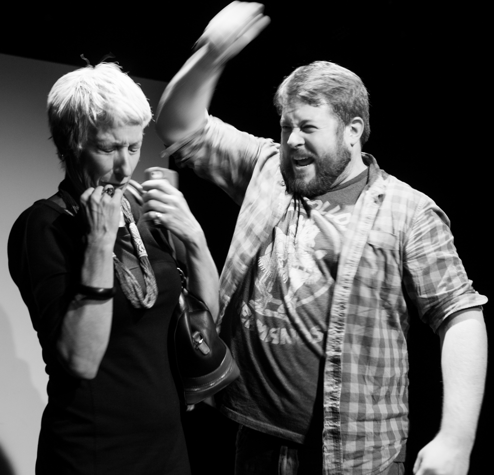 Renee Stork (Candice) & Trey K. Blackburn (Blue) in  Invasion  ; directed by Elizabeth Ostler, photo by Isaiah Tanenbaum: Theatrical Photography & Design