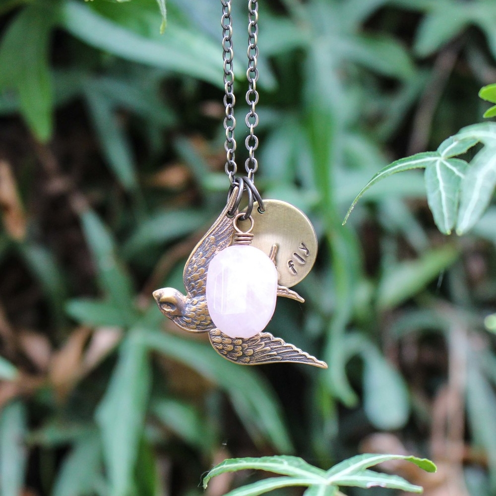 bird with rose quartz soul mantra