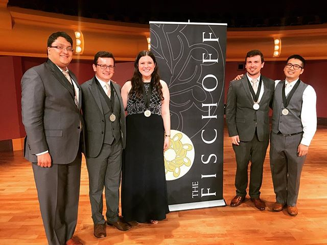 These last three days have been a blast! So grateful to be part of a group that has given me so much joy and purpose over the last two years, and I'm floored to have finally fulfilled a many-years-long dream of performing at the Fischoff Competition! 🎷🥈🎉 . . .  #chambermusic #fischoff2018 #saxophone #clarinet #bassoon #oboe #bassclarinet #silver #reedquintet #chambermusicforlife