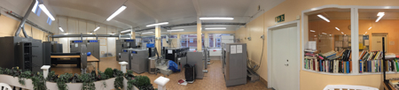 Panorama of the Tvättstugga.  From L to R, the drying cabinets, the mangel, the dryers and washers, the grovtvätt and the library of discarded books for people waiting on laundry.