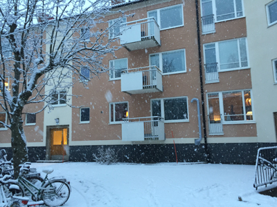 Our apartment courtyard in snow
