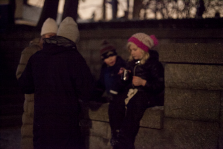 I love this even though it came out fuzzy.  A family having hot chocolate while out at the graveyard.  They sat there for a long time.  It was beautiful.