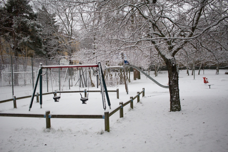 Park by the bakery and subway