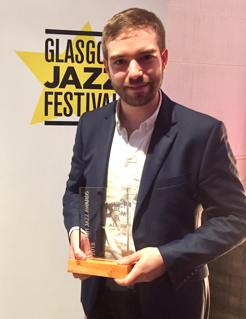 Andrew with the Best Album trophy at the Scottish Jazz Awards ceremony