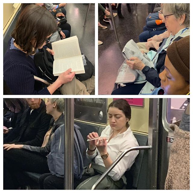 Analog reading is alive and well in the NY City subway. The same goes for personal grooming. #subway #readingbooks