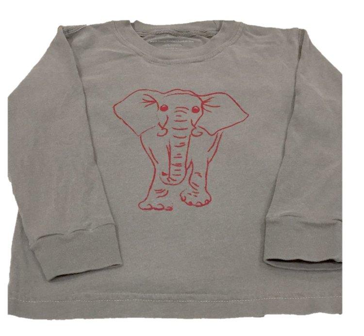 Long Sleeve Grey/Crimson Elephant Tee  $24
