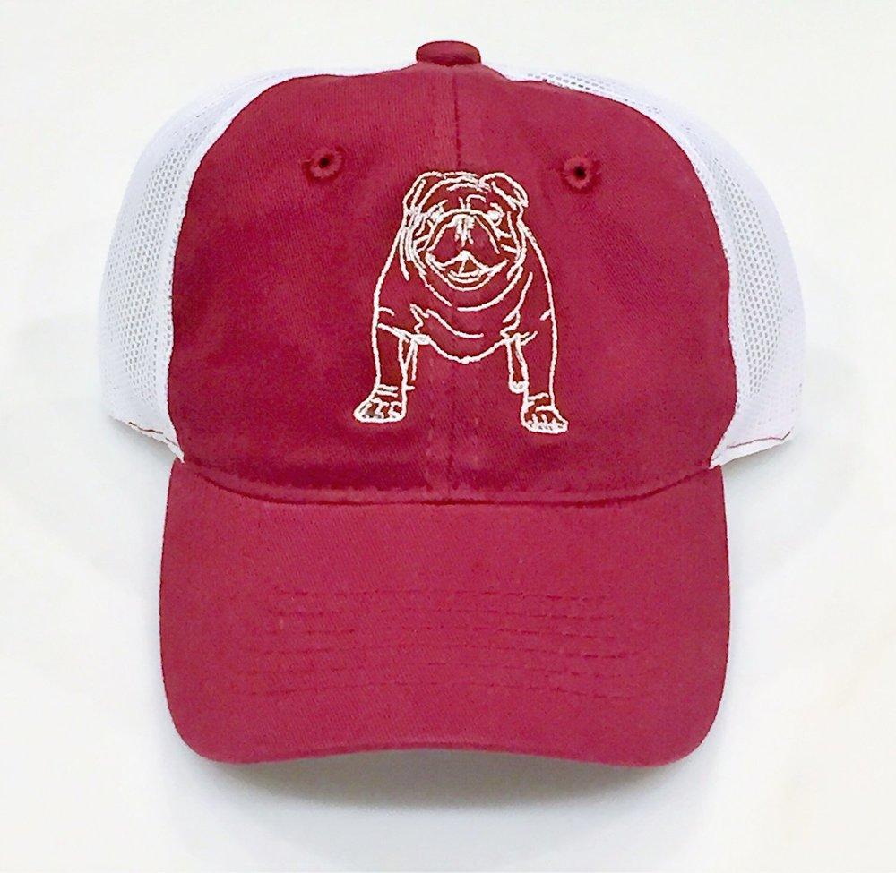 Maroon/White Bulldog Trucker Hat  $20