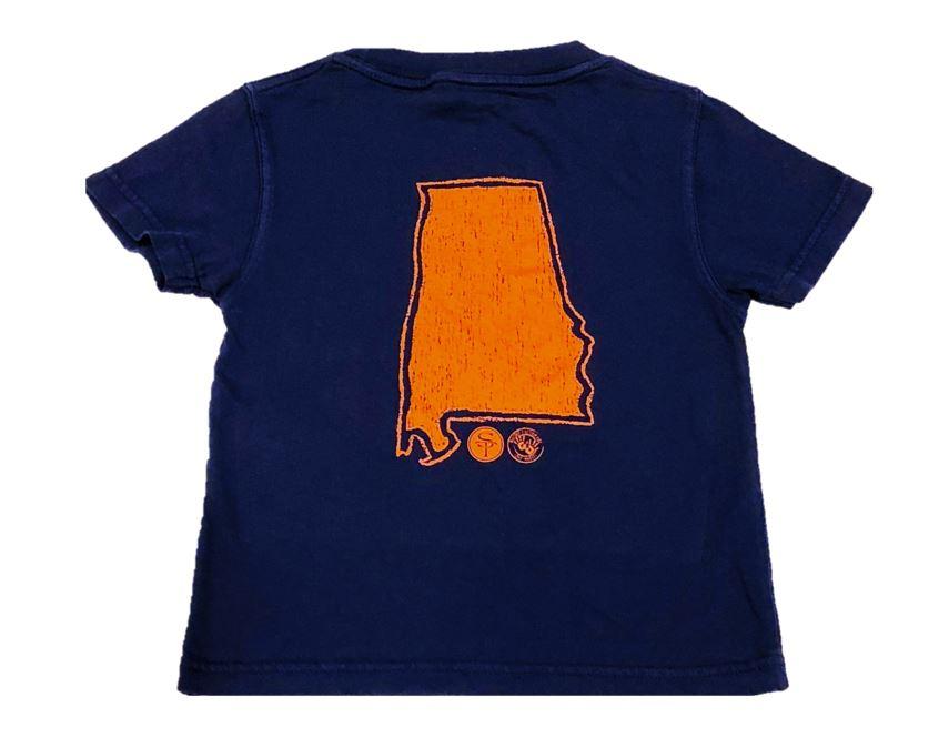 Short Sleeve Navy/Orange State of Alabama Tee  $22