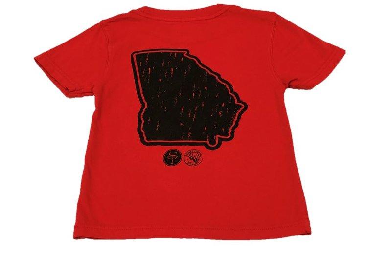 Short Sleeve Red/Black State of Georgia Tee  $22