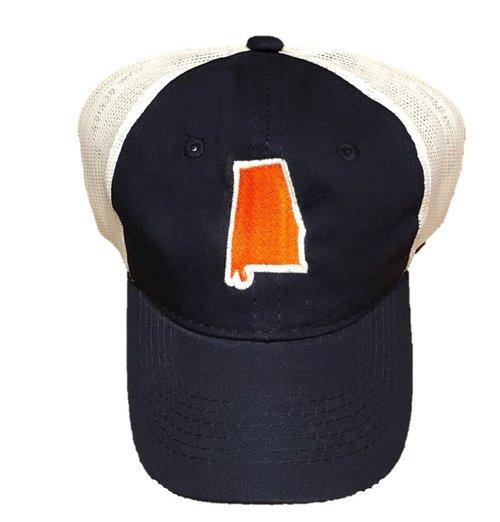 3927fb11cb8 Orange Navy State of Alabama Trucker Hat — Mustard and Ketchup Kids