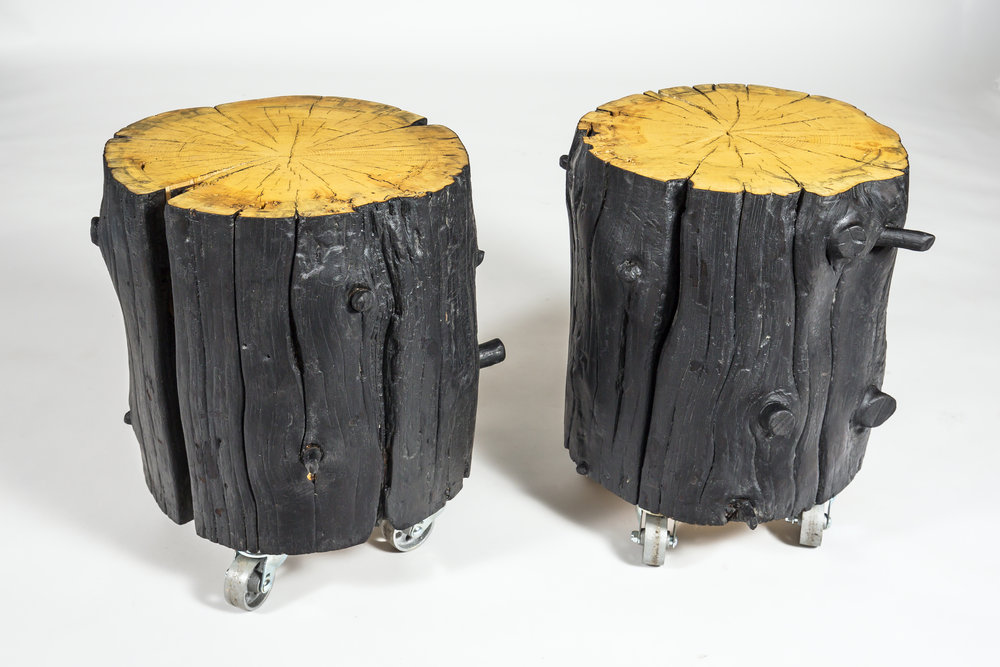 Shou Sugi Ban Log Side Table